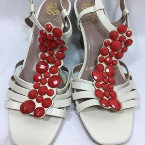 Vince Camuto Sandals Wedges Ivory Red Beaded